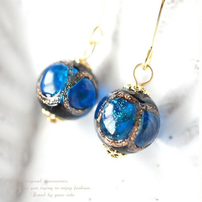 ***銀河のような輝きが美しい♪ブルーブラック×ゴールドラインのとんぼ玉10mmピアス【メール便OK】KG//