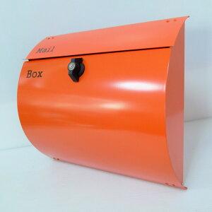 【あす楽】郵便ポスト郵便受けおしゃれかわいい人気メールボックス壁掛けプレミアムステンレス オレンジ色ポストpm063-1
