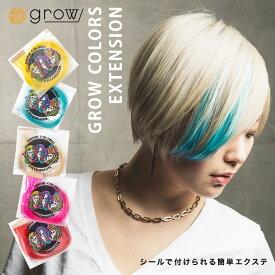 【ネコポス】 GROW COLORS EXTENSION グロウカラーズエクステンション 選べる18カラー 人毛100% 45cm 2本分 シールエクステ ハイトーンカラー インナーカラー ユニコーンカラー