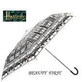 【イギリス直輸入正規品】Harrodsハロッズ白黒折りたたみ傘雨傘レディースモノクロ2段階軽量オシャレカバー付き革風ハンドル
