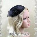 リボンレースヘッドドレス 黒 礼装帽子 カクテル帽 トーク帽 結婚式披露宴パーティー二次会女子会お呼ばれ冠婚葬…