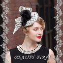 白黒花リボンメッシュ帽 フラワーヘッドドレス カクテル帽 礼装帽子 トーク帽 結婚式花嫁披露宴パーティー二次会…