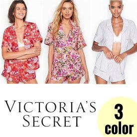 《ヴィクトリアシークレット パジャマ 半袖》 3色展開 VICTORIA`S SECRET ボタンタイプ 花柄 ストライプ フラワー