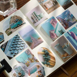 100枚 海外フレークシール マスキングテープ素材◆色別7種◆和紙 半透明 ステッカー 手帳デコ マステ コラージュ素材 レトロ ビンテージ アンティークラッピング 携帯 飾り 北欧 カラー別 植