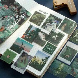100枚 海外シール マスキングテープ素材◆色別6種◆和紙 半透明 ステッカー 手帳デコ マステ コラージュ素材 レトロ ビンテージ ラッピング 携帯 飾り カラー別 植物 風景 写真 人物 景物 背