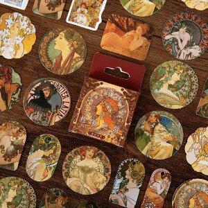 即日発送/海外 フレークシール 西洋 中世期 ヨーロッパ 女神 女性 イラストシール レトロ ジャンクジャーナル コラージュ デコレーション ビンテージ ヴィンテージ スクラップ アンティーク
