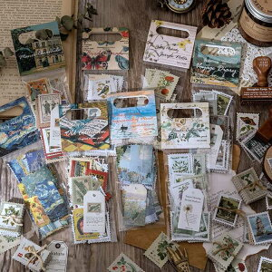 即日発送/たっぷり60枚 海外 切手シール フレークシール スタンプシール アンティーク フレークシール 手帳デコ コラージュ素材 北欧 西洋 アメリカ ヨーロッパ 植物 動物 建物 レトロ ジャ