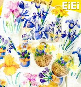 海外 透ける・ 硫酸紙 花 フレークシール 半透明 ◆全8種類◆カラー別 ローズ 薔薇 やや大きめ半透明 手帳デコ コラージュ素材 ジャンクジャーナル 珍しい レトロ 紫色 青色