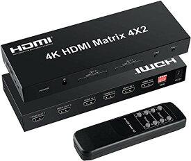 FERRISA 4K HDMI マトリックス セレクター 4入力2出力 音声分離器(光デジタル・オーディオ分離)HDMI スイッチャー スプリッター ED
