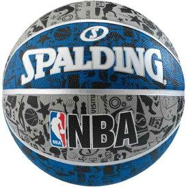 【スポルディング】 GRAFFITI(グラフィティ) ブル— バスケットボール 7号球 [カラー:ホワイト×ブラック×ブルー] #83-176Z 【スポーツ・アウトドア:その他雑貨】