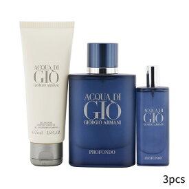 ジョルジオアルマーニ セット コフレ Giorgio Armani ギフトセット Acqua Di Gio Profondo Coffret: Eau De Parfum Spray 75ml/2.5oz + 15ml/0.5oz All Over Body Shampoo 3pcs メンズ 男性用 お試し フレグランスセット