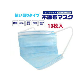 【当店入荷済のため在庫あります】 3層フィルター不織布マスク 10枚入 ブルー マスク ※クリックポスト等で【送料無料】