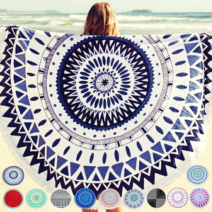 beach mat towels round beach towel size 150 x 150 cm circle towel beach mat round towel large beach towel swimwear bohemian native pattern aztec pattern - Large Beach Towels