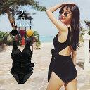 【半額 楽天スーパーSALE】 水着 レディース 体型カバー ワンピース ベロア オールインワン オトナ女子 タンキニ リボ…