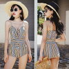 Two points of set buttocks thigh cover shoulder strings adjustable stripe handle mom swimsuit adult girl resort pool sea 2019 new work with swimsuit Lady's figure cover big size one-piecer monokini long underwear