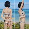 Swimsuit Lady's figure cover bandeau bikini short pants big size adult adult girl purple yellow checked pattern three points set mizugi m l ll xl 9-11-13 mail order trend 2019 latest swimsuit