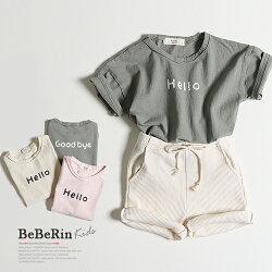韓国子供服ハローTシャツ半袖夏ロゴTグッバイTベーシックシンプル韓国子供服男の子女の子キッズ韓国こども服子供90100110120130