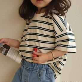ボーダー ゆったり 半袖 Tシャツ 韓国子供服 ナチュラル 韓国 子供服 キッズ 男の子 女の子 子供 カットソー 無地 シンプル トップス
