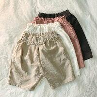 リネン7分丈ゆるパンツゆったりサルエルパンツキッズナチュラルリネンパンツ夏女の子男の子子供韓国子供服シンプル無地7分丈韓国こども服