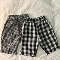 ギンガムチェック7分丈ゆるパンツゆったりパンツキッズナチュラルボトムスボトムズボン女の子男の子子供韓国子供服シンプル韓国こども服