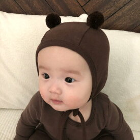 くまさん ボンネット ベビー 帽子 くま耳 帽子 赤ちゃん 秋 冬 新生児 出産祝い ベビー 赤ちゃん ナチュラル 韓国子供服 韓国ベビー服 シンプル
