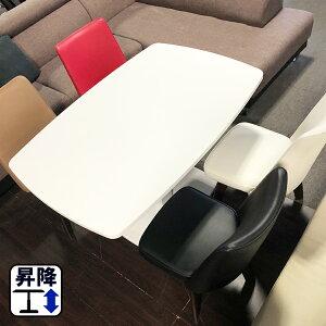 昇降式テーブル ガス圧 (ル・クール) ( 昇降式テーブル 120 80 昇降式ダイニングテーブル 昇降 リフティングテーブル 白 高さ調節 伸縮 伸長 木製 拡張 おしゃれ 食卓テーブル ホワイト セ