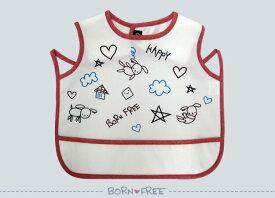 『 BORN FREE ( ボンフリー ) お食事エプロン 袖なし アカ 』 ベビー用品 出産祝い おしゃれ かわいい 日本製 女の子 男の子 赤ちゃん