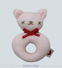 BORN FREE ( ボンフリー ) リング ガラガラ ピンク ベビー用品 出産祝い おしゃれ かわいい 日本製 女の子 男の子 赤ちゃん