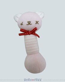 BORN FREE ( ボンフリー ) スティック ガラガラ ピンク ベビー用品 出産祝い おしゃれ かわいい 日本製 女の子 男の子 赤ちゃん