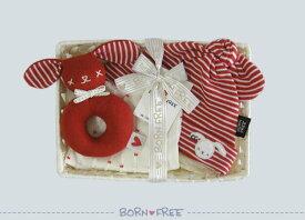 BORN FREE ( ボンフリー ) カゴミニ-6 ボーダー キャップ セット アカ ベビー用品 出産祝い おしゃれ かわいい 日本製 女の子 男の子 赤ちゃん