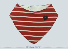 『 BORN FREE ボーダーバンダナ スタイ 赤 』 ベビー用品 出産祝い おしゃれ かわいい 日本製 女の子 男の子 赤ちゃん