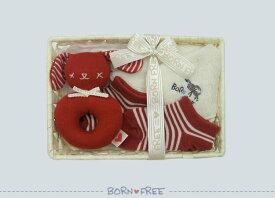 「 BORN FREE ( ボンフリー ) カゴミニ-09 新生児 セット アカ 」 ベビー用品 出産祝い おしゃれ かわいい 日本製 女の子 男の子 赤ちゃん