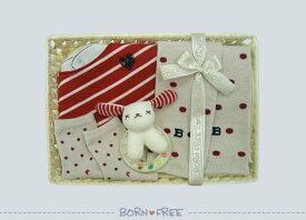 BORN FREE ( ボンフリー ) カゴS-24 ドット レッグウォーマー セット アカ ベビー用品 出産祝い おしゃれ かわいい 日本製 女の子 男の子 赤ちゃん
