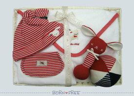BORN FREE ( ボンフリー ) カゴM-17 ブランケット セット アカ ベビー用品 出産祝い おしゃれ かわいい 日本製 女の子 男の子 赤ちゃん