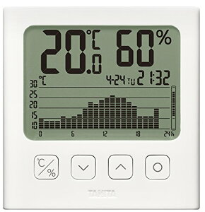 タニタ 温湿度計 温度 湿度 デジタル グラフ付 ホワイト TT-580 WH 温湿度の変化を確認