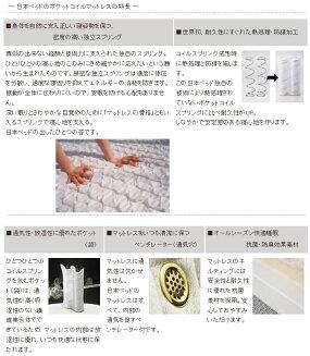 マットレスシングルポケットコイル日本ベッドピロートップシルキーポケット(ウール入り)11167