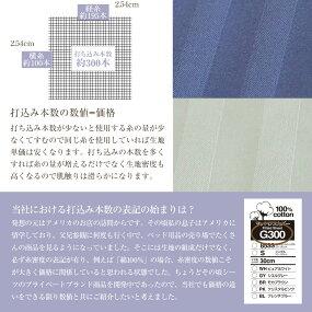 ボックスシーツキングシングル+シングル(195×195cm)2台用サイズ綿100%プレミアムコレクションマットレスカバーG300サテンストライプマチ幅通常30cm/厚型40cmピュアホワイト(白)・シエルグレー(灰色)・モカブラウン(茶)・クリスタルピンク・フレンチブルー(青)