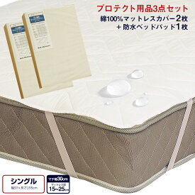 【3/1(月)20時〜4H限定5%オフクーポン配布中】寝装品3点セット シングル (綿100%マットレスカバー G01・防水ベッドパッド ALTA-PU)