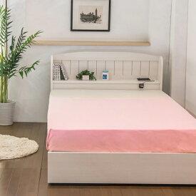 ベッド セミダブル 棚 コンセント 引き出し付き カントリー調ベッド 二つ折りボンネルコイルマットレス付(代引不可)【送料無料】【S1】