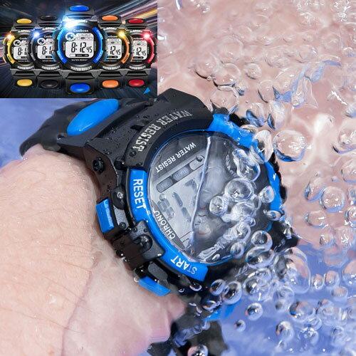 2サイズ 5カラー 腕時計 子供 ジュニア デジタル スポーツウォッチ 男の子 女の子 小学生 防水 小学校 キッズ 卒業 入学 進学 進級 卒園 合格祝 記念品 LED 送料無料
