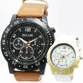 Bel Air メンズ腕時計圧倒的な重厚感 ビッグフェイス メンズ 腕時計 ウォッチ 日本製ムーブメント クロノデザイン 大きいサイズ