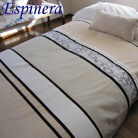 ベッドスプレッド シングル 180×270 cm エスピネラ ベージュ スペイン製 日本仕様 ジャガード織 1.0 kg 超広幅生地&デザイン 継ぎ目が無い ベッドカバー ホテル仕様 マルチカバー ギフト プレゼント ご家庭洗濯可