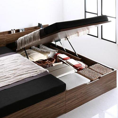 ベッド ベット 収納付き シングル ブラウン 幅:90cm〜99cm 奥行き:200cm以上 高さ:80cm〜89cm キャスター無し 既成品 クラシック シンプル モダン シングル 木製 ボンネルコイル 収納付き コンセント付き 棚付き 設置対応可 組立対応可 要組立品 木 台湾 茶 ブラウン