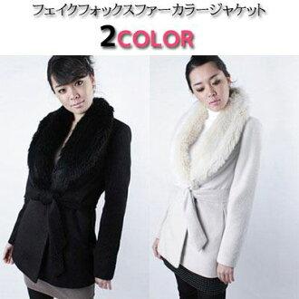 Fur jacket wool coat fur collar winter Womens