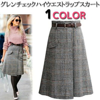 Glen plaid midi length high waist lap flared skirt knee-length A-line belt SET Lady's in the fall and winter