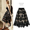 Lady's with the punching flower pattern midi length flared skirt punching race mi-mollet length Tulle see-through lining in the spring and summer