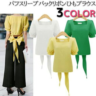 Square neck puff short sleeves back ribbon peplum blouse cut-and-sew shirt tops Lady's [M service 10/10] in the spring and summer