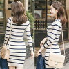 Lady's in a horizontal stripe tight rib knit dress pencil mini-knee in length spring and summer [M service 10/10]