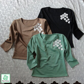 Flower charm cut-and-sew [M L XL] three-quarter sleeves black green lady's casual four circle pearl blouse tops thick T-shirt Ron T adult Kaai breath Rei of superior grade fashion flower big arrival at in the fall and winter size stretch breathe it, and