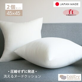 ヌードクッション 肉厚 45×45 2個セット 日本製 東レFT綿使用 クッションカバー用 送料無料 クッション 中身 背当て 佐川またはヤマト便